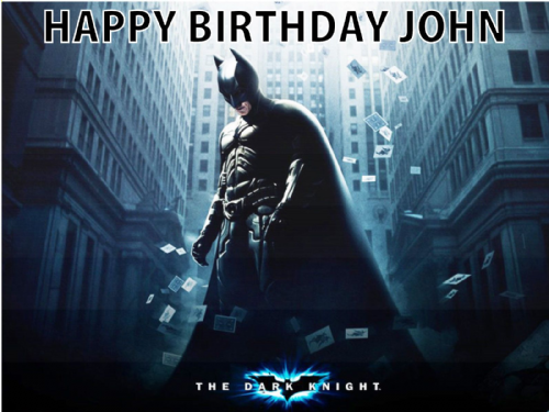 BATMAN DARK KNIGHT PERSONALISED EDIBLE BIRTHDAY CAKE TOPPER DECORATION